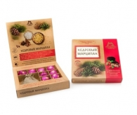 Кедровый марципан с земляникой + чай, коробка, 120 гр
