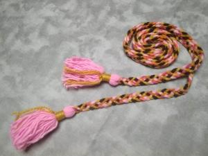 Пояс плетёный розово-жёлто-коричневый с розовыми кистями, 215/1,5 см