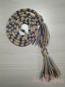 Поясок кручёный жёлто-серо-голубой с кистями, 185 см