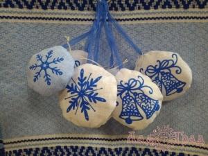Игрушка текстиль новогодняя круглая (игольница)