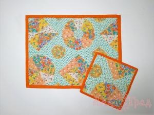 Набор оранжевых салфеток сервировочных пэчворк