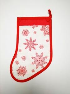 Сапожок новогодний  белый с красным для подарка