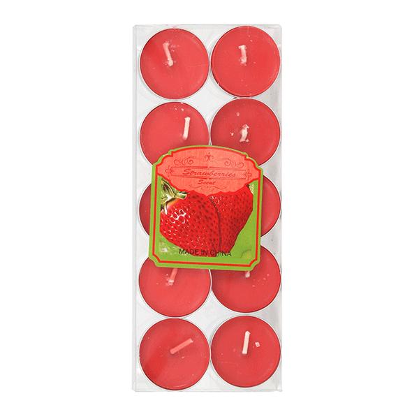 Свечи чайные Набор 10 шт Клубника красные парафин металл фитиль