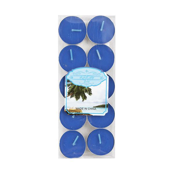 Свечи чайные Набор 10 шт Океан синие парафин