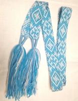 Пояс Одолень-трава голубой с белым, 1,7м