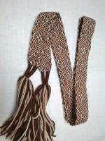 Пояс Одолень-трава бежево-коричневый с белым, 1,7м