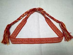 Очелье Крест-ромб красно-оранжевый с белым